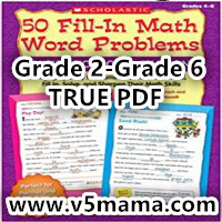 Scholastic 50 Fill-in Math Word Problems Grade 2-Grade 6 学乐数学应用题练习册原版高清