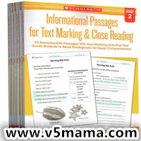 英文原版 Informational Passages for Text Marking Close Reading Grade2-6 学乐阅读练习册